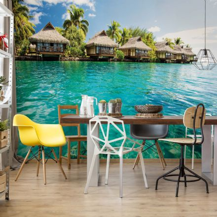 Wallpaper mural - easy install Island Caribbean Sea Tropical Cottages